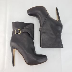 CHARLES DAVID Leather Fold Buckle Stiletto Bootie